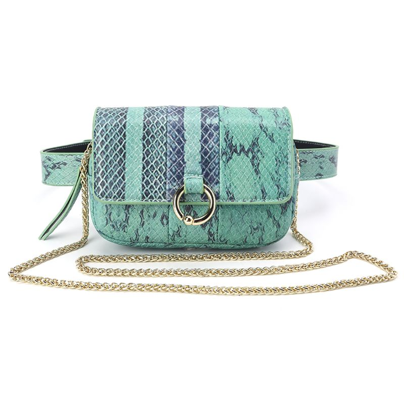 High Quality Fashion Waist Fanny Hip Pack Python Belt Bag Pouch Travel Bum Mini Sling Shoulder Bags Women Small Purse