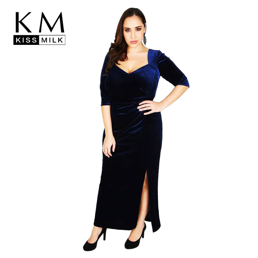 Kissmilk Plus Size Fashion Women Clothing Casual Elegant Velour Midi <font><b>Dress</b></font> <font><b>Sexy</b></font> Vintage Evening Big Size <font><b>Dress</b></font> <font><b>3XL</b></font> 4XL 5XL 6XL image