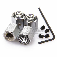 Silver 4PCS Anti-theft Style For Volkswagen VW LOGO Car Badge Wheel Tire Valve Cap Tyre Dust Cap For POLO GOLF JETTA Accessorie
