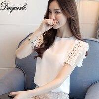 Dingaozlz hàn quốc hollow out khâu ren tops elegant lady không tay voan blouse 2018 thời trang mới phụ nữ tops