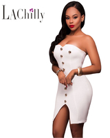 2017 Summer New Sexy Women Party Bodycon Dresses NightClub Gold Button Detail Strapless Mini Dress LC22949