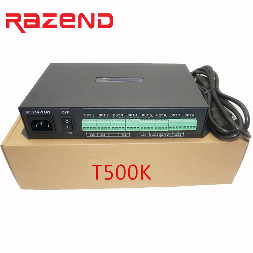Contrôleur de T-500K en ligne rvb contrôleur de pixels led couleur 8 ports jusqu'à 300000 pixels ws2801 ws2812b SK6812 contrôle