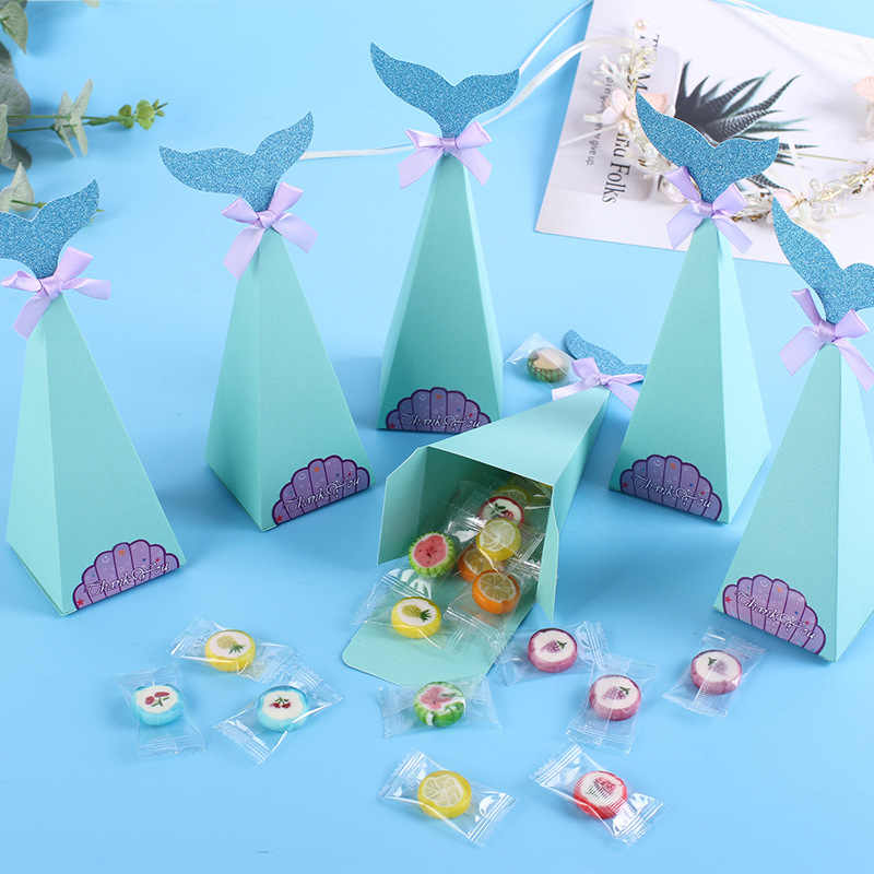 20 Pcs Blue Mermaid Candy Box for Greeting Cards Cookie Bags Gift Bags Baby Shower Birthday Party Decoration