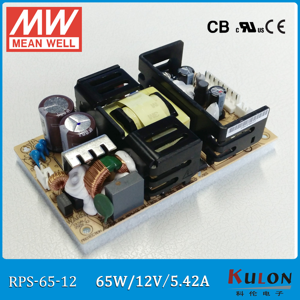 Original Meanwell RPS-65-12 single output 65W 12V 5.42A MEAN WELL medical open frame type power supply RPS-65 PCB type 1pcs ap027 gx20 9 10 12 14 15 pin male