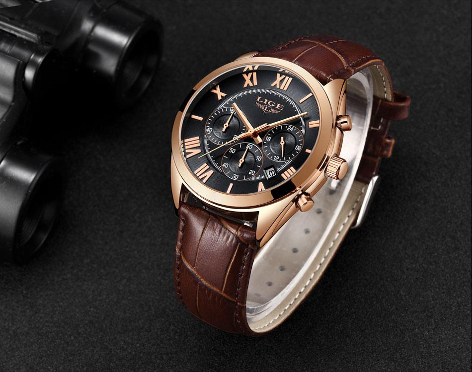 HTB1SEcLPhYaK1RjSZFnq6y80pXac LIGE Watch For Men Top Brand Luxury Waterproof 24 Hour Date Quartz Clock Brown Leather Sports WristWatch Relogio Masculino 2019