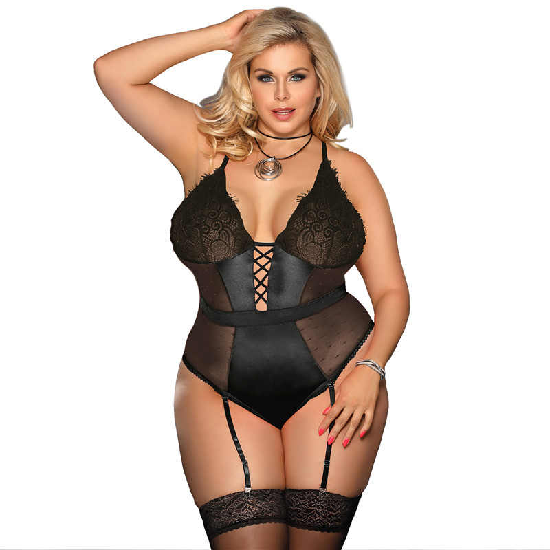 a25403d3437 Tenue Sexy Femme Erotique V Neck Transparent Sexy Body With Garter Backless  Black Plus Size Lace