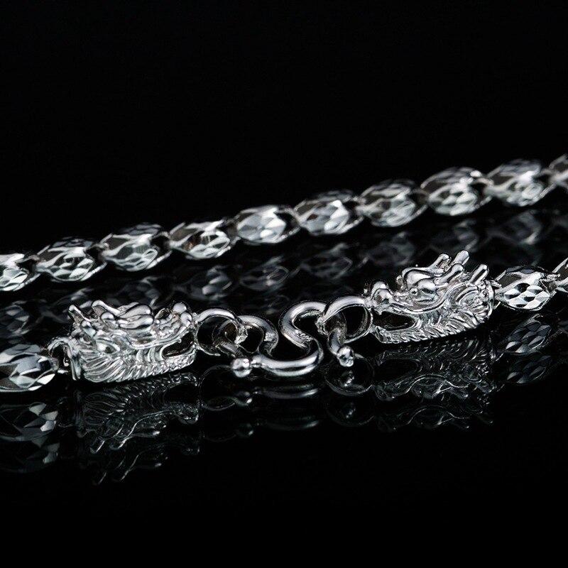 Collier de chaîne de tête de Dragon en argent 999, collier de perles en forme de tulipe en argent Sterling collier de charmes de Dragon