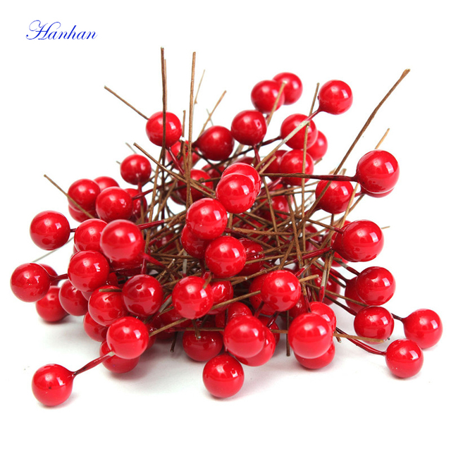 Hanhan 100Pcs Artificial Berry Vivid Red Holly Berry