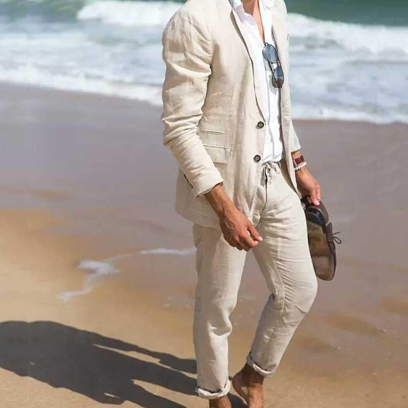 Summer Beach Beige Linen Men Suits Prom Party Costume Homme Man Blazer Slim Fit Terno Masculino 2Piece Coat Pants Groomsmen Suit
