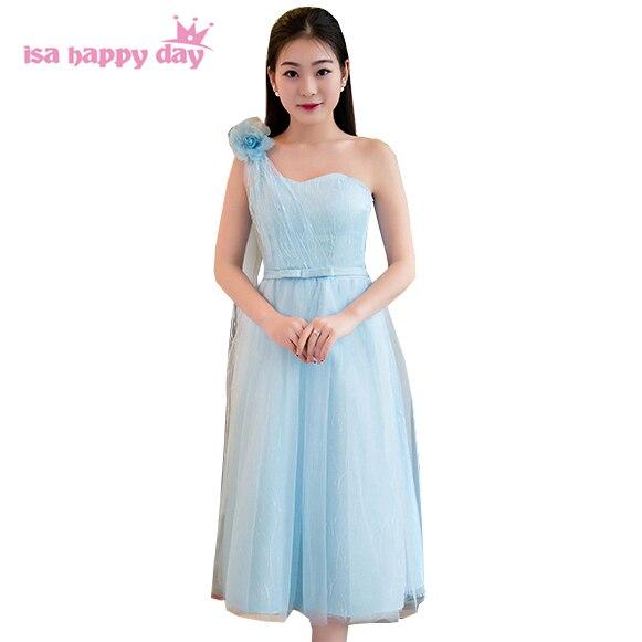 vestido de festas tea length korean girl blue one shoulder party ...