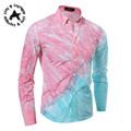 2016 newFloral Men Shirt   sleeve Luxury Brand Shirt Slim Fit Casual Fashion Mens Clothes Camisa Masculina