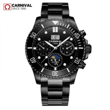 цена на Moon phase luxury Automatic Mechanical watch men full steel waterproof Men Watches Clock reloj hombre erkek kol saati montre2019