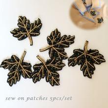 5pc/set maple leaf beaded patches for clothing Black flower Rhinestone appliques Sequins parche DIY clothes accessories