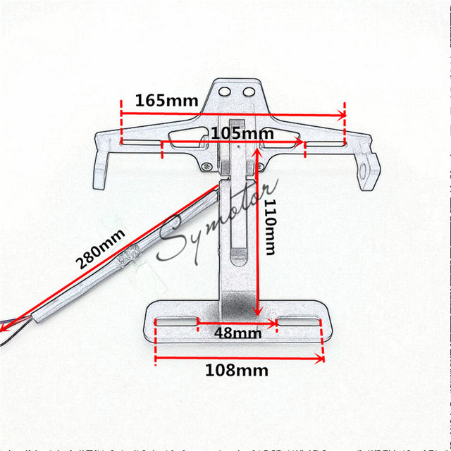 Aluminum Adjustable Angle Motorcycle License Number Plate Frame Holder Bracket For Kawasaki Z800 z750 z1000 EX ninja 250 300