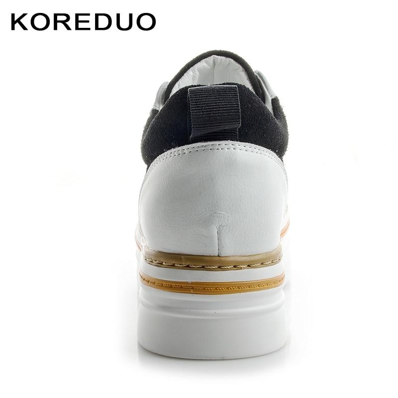 Cuir gray Caché Talon Sneakers Chaussures Mujer Semelles Zapatos Black Plates Femmes Plate Véritable forme Casual Creepers Femme Pour En Épaisses Koreduo À EO1IqW
