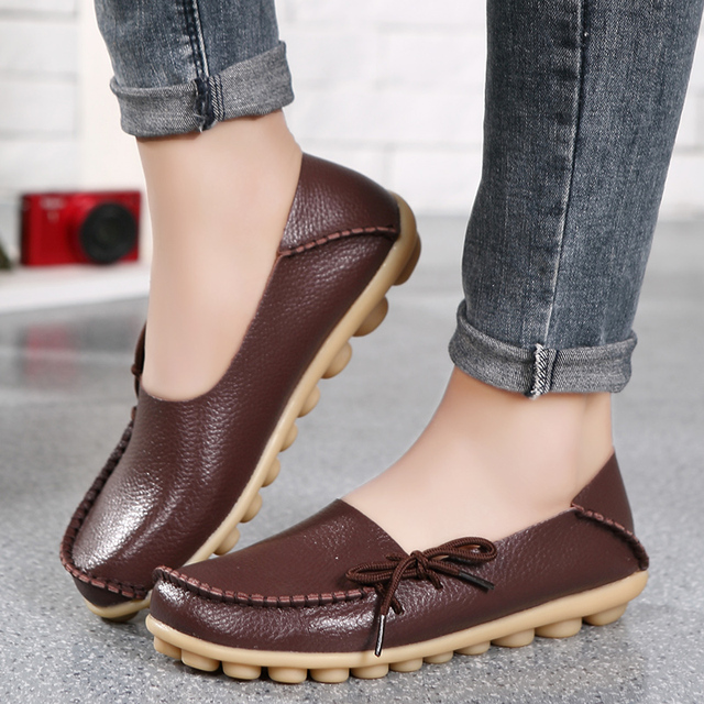 New Real Leather Women Flats Moccasins Loafers Ladies Shoes Wild Driving women Casual Shoes Leisure Concise Flat shoes ST179 5