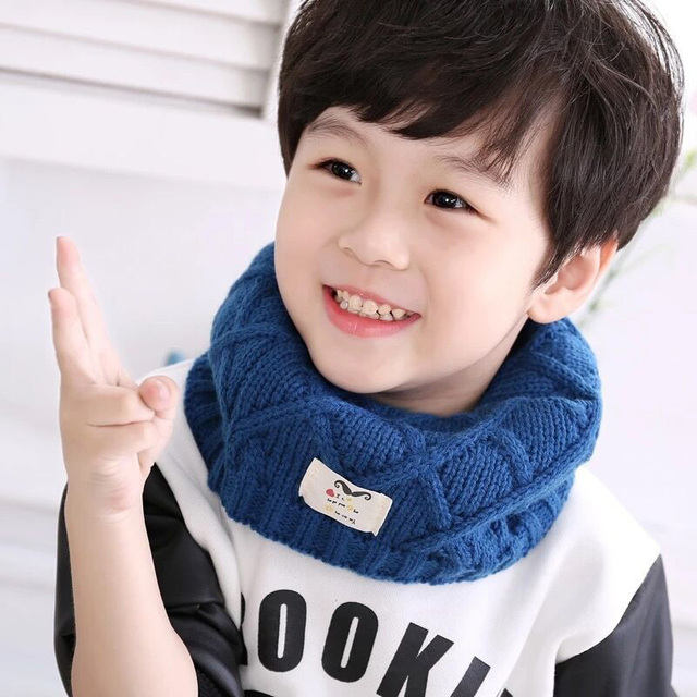 Cute Winter Baby Scarf Children Girls Boys Knitted Wool O Neck Ring Scarves Kids Solid Color Warm Snood