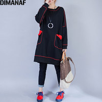 DIMANAF Women Plus Size Dress Autumn Cotton Solid Vintage Fashion 2017 Long Sleeve New European Winter Casual Dresses Pockets