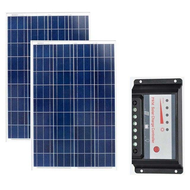 Kit Solar Panel 12v 100w 2 Pcs/Lot Solar Battery Charger Waterproof Solar Charge Controller 12V /24V 20A Marine Yacht Boat Camp