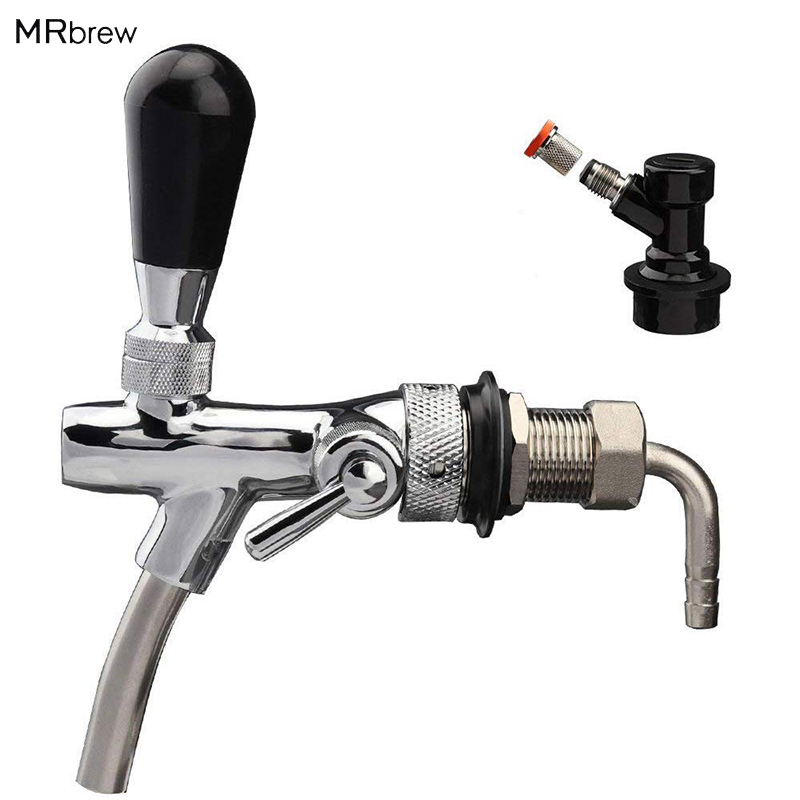 Draft Beer Faucet Adjustable Beer Tap Faucet with Flow Controller Chrome Plating Shank with Thread Gas