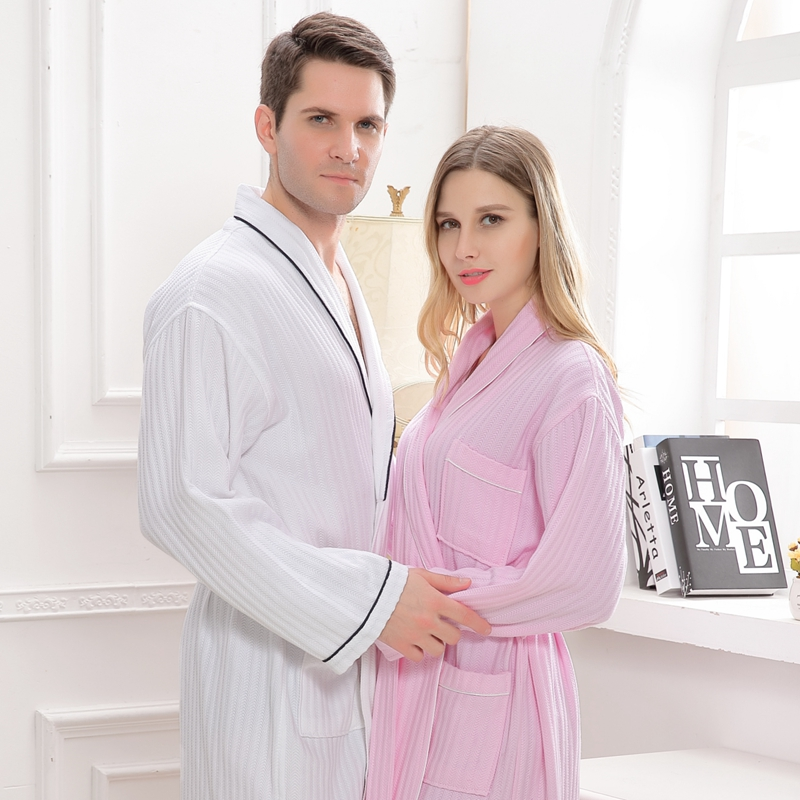 Waffle cotton bathrobe men couples night robes hotels SPA robes for male XXL Plus size pijamas