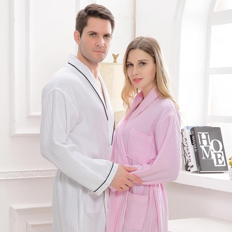 Robe Accommodation: Waffle Cotton Bathrobe Men Couples Night Robes Hotels SPA