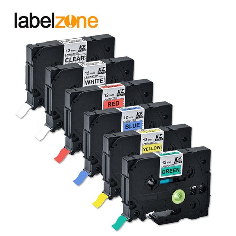 Paquet de 6 couleurs mélangées tze ruban compatible brother Tze231 tze-231 tze 231 tze131 tze431 tze531 tze631 tze731 pour imprimantes p-touch