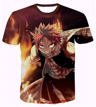 Harajuku tee shirts Classic Anime Fairy Tail T-shirts Hipster 3D t shirt  Natsu Dragneel Characters t shirts