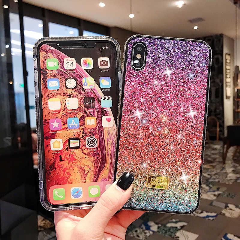 Оригинальный цветной блестящий чехол для телефона для девочек iPhone X 11 pro Xs Max 10 8 7 6 6s Plus Роскошные жесткие чехлы Coque Fundas