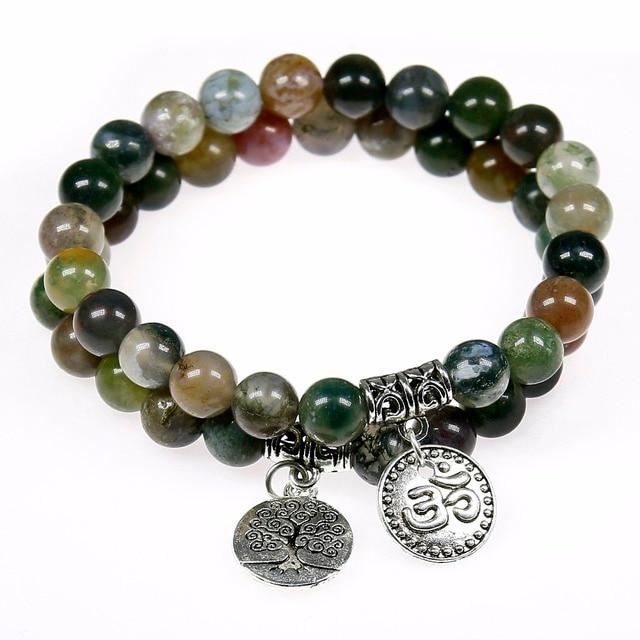 Natural Indian Onyx Buddhism Mala Beads Bracelet Uni Prayer Yoga Meditation Tree Of Life Pendent