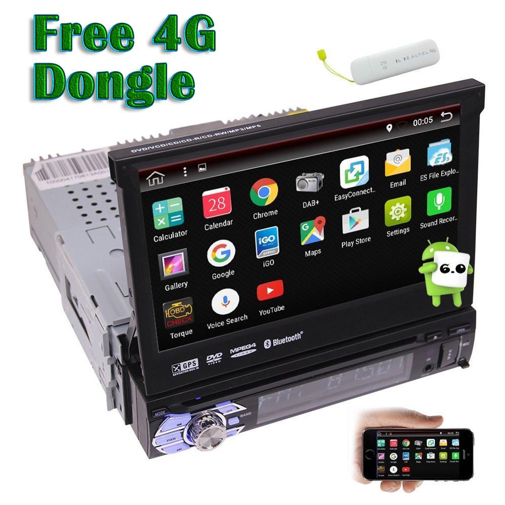 1 Din Android 6.0 voiture stéréo électronique écran tactile voiture lecteur DVD Navigation GPS Auto Radio soutien WiFi/vidéo gratuit 4G Dongle