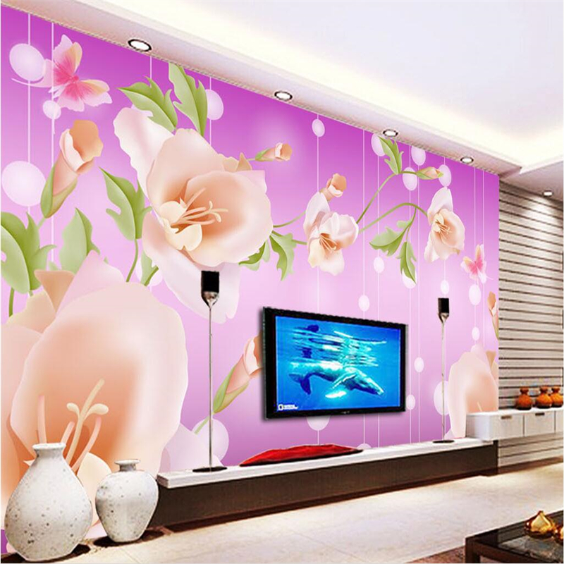 Custom Any Size Modern Wall Wallpaper Pearl Butterfly Silk: Beibehang Custom Wallpaper Murals Any Size Photo Fantasy