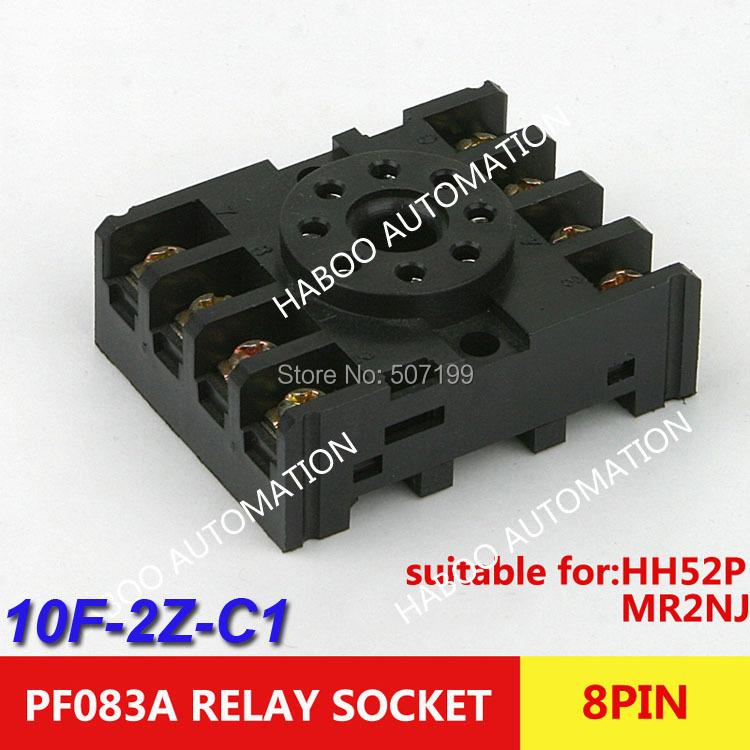 HABOO factory directly 10pcs/lot switch socket PCB MINI Relay socket (PF083A) 8 pin relay socket 10F-2Z-C1 socket for HH52P