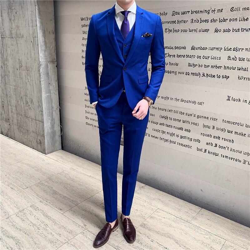 ¡Novedad de 2019! chaqueta azul para hombre, chaleco y pantalón S M L XL XXL XXXL, conjunto de 3 piezas para banquete de boda y negocios para hombre - 6