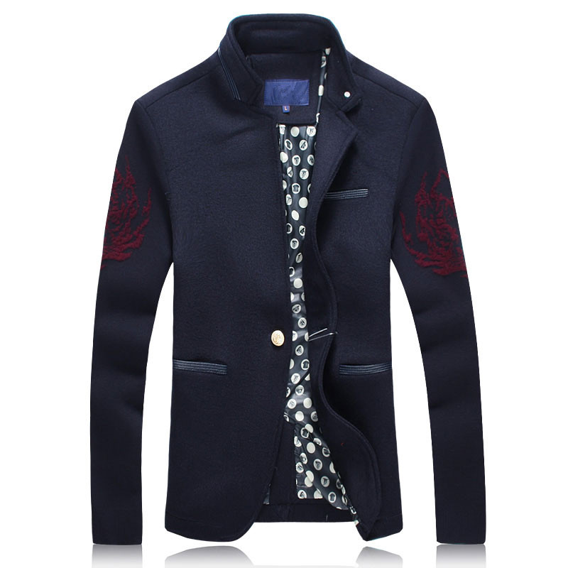 2017 spring new style Men's fashion leisure printing jacket Men's casual wool jackets windbreaker trench coat Free shipping