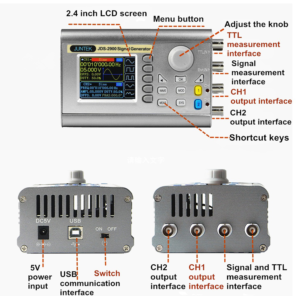 Jds2900 60mhz Signal Generator Function Digital Control Four Digit Frequency Counter Meter Ttl Cmos Schematic Dual Channel Dds Arbitrary Waveform Pulse In Meters From Tools