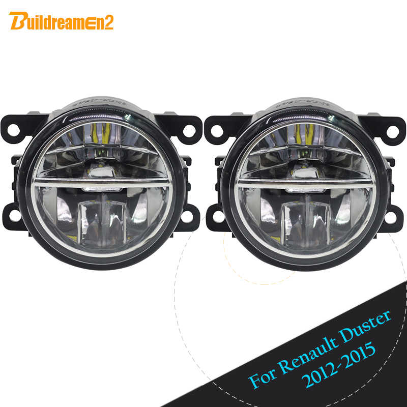 Buildreamen2 2 X Car Styling LED Fog Light DRL Daytime Running Light 12V For 2012-2015 Renault Duster Closed Off-Road Vehicle