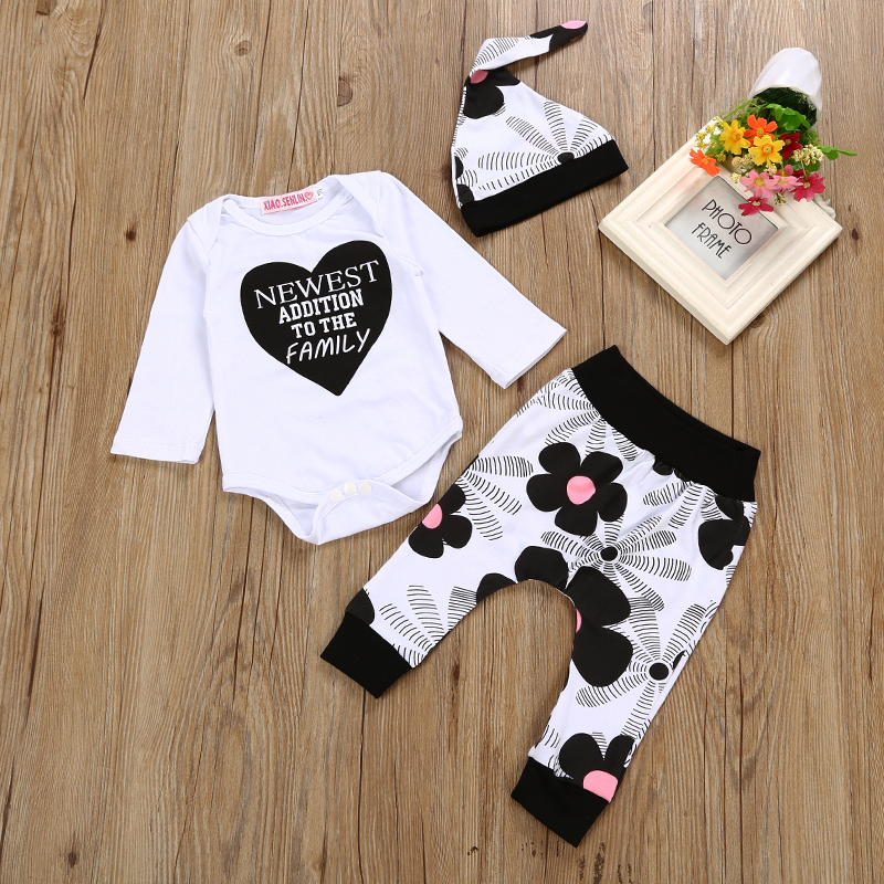 2018 Newbonr Baby Boys Clothing Set  cotton letter Long Sleeve Romper + pants +Hat Infant 3pcs Suit Baby Girl Clothes he hello enjoy baby rompers long sleeve cotton baby infant autumn animal newborn baby clothes romper hat pants 3pcs clothing set