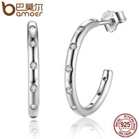 BAMOER Genuine 100 925 Sterling Silver Stackable Droplets Drop Earrings With Clear CZ Sterling Silver Jewelry