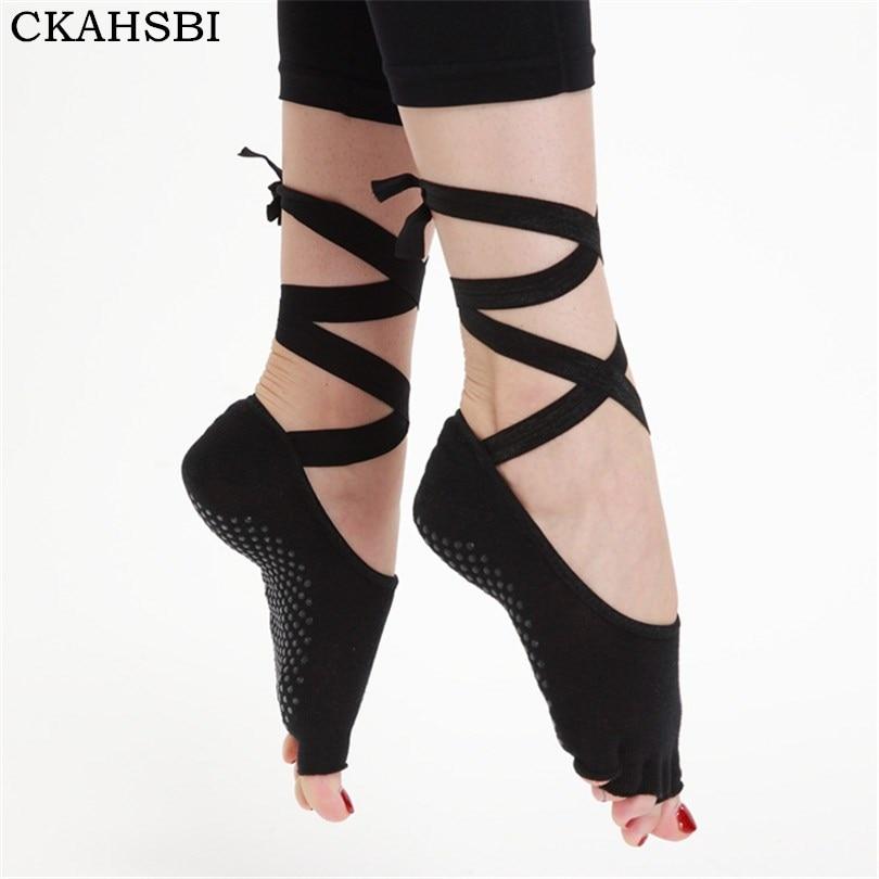 @1  CKAHSBI Yoga Socks Women Paired Ladies Тренажерный зал Танцы противоскользящие Пять Пальцев С Лентой ★