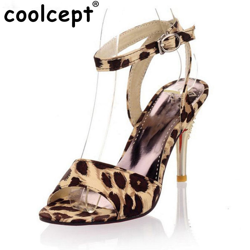 sexy leopard thin high heel sandals women open peep toe party shoes fashion ankle strap heeled footwear size 31-47 PB00134 women peep toe ankle strap platform high heel sandals summer sexy fashion ladies heeled footwear heels shoes size 34 39 p16703