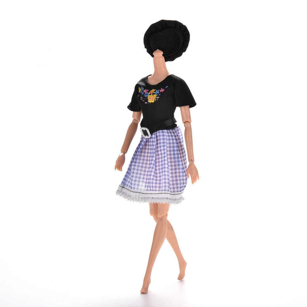 Oyuncak bebek giysileri Set Yaz Kısa Kollu Çiçek Ekose Baskı Moda Elbise Bebek Giyim Sıcak satış