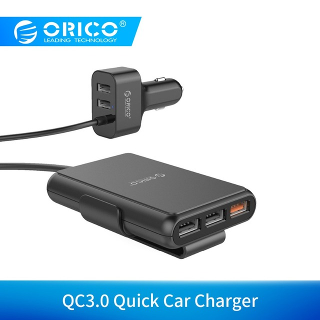ORICO UCP-5P 52W Car USB Charger Smart Charging QC3.0 Quick Car Charger for Xiaomi Huawei Sanmsung Tablet