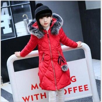 Пуховик для девочек Корейская версия, средней длины версия утолщение девушка 2017 Зимняя куртка. AN44