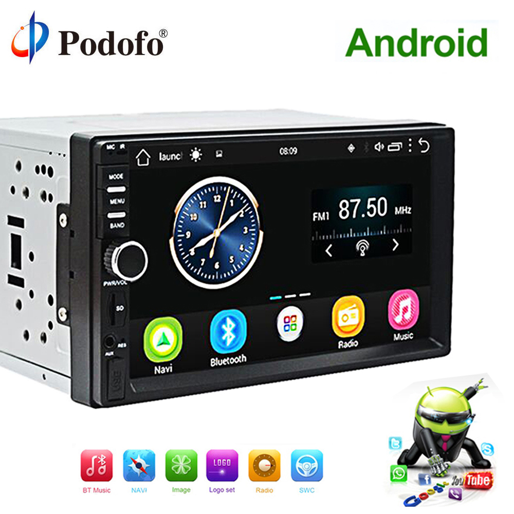 Podofo 2 Din Android Car Radio GPS Navigation Car Stereo 71024*600 Auto Audio Universal Car Multimedia Player Wifi Bluetooth FM