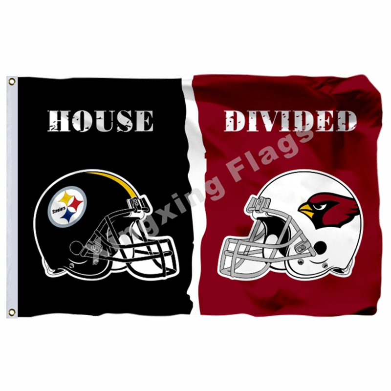 Pittsburgh Steelers Arizona Cardinals House Divided Flag 3ft x 5ft Polyester NFL Banner Size No.4 144* 96cm Custom flag