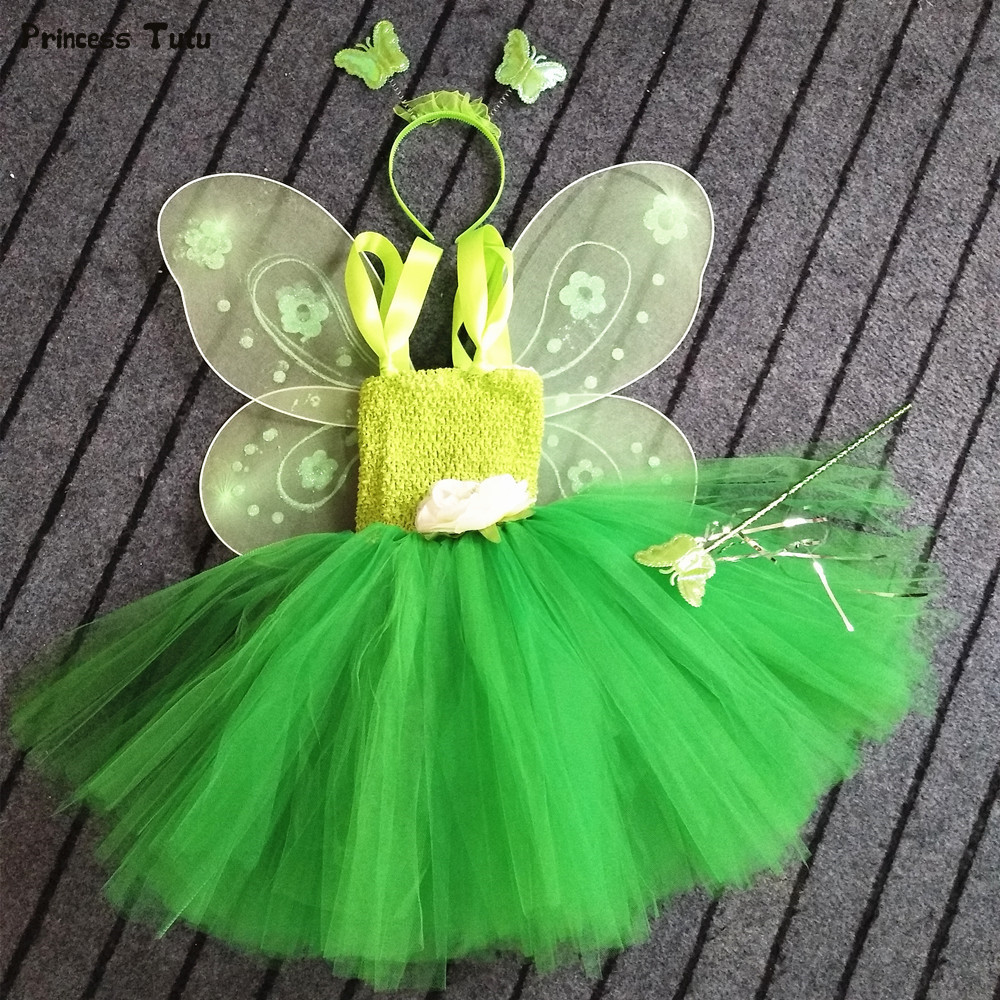 1 Set Cosplay Tinkerbell Magic Fairy Tutu Dress Up Princess Girl Birthday Party Dress Green Kids Halloween Costume With Wing halloween girl skeleton rib bone top dark green zebra pettiskirt set 1 8year mg1246