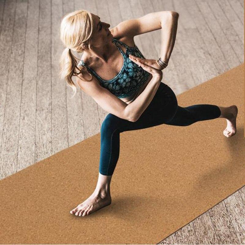 5mm liège caoutchouc naturel haut de gamme yoga mat non-skid sucer la sueur yoga gymnastique tapis de danse de remise en forme tapis 183 cm * 66 cm
