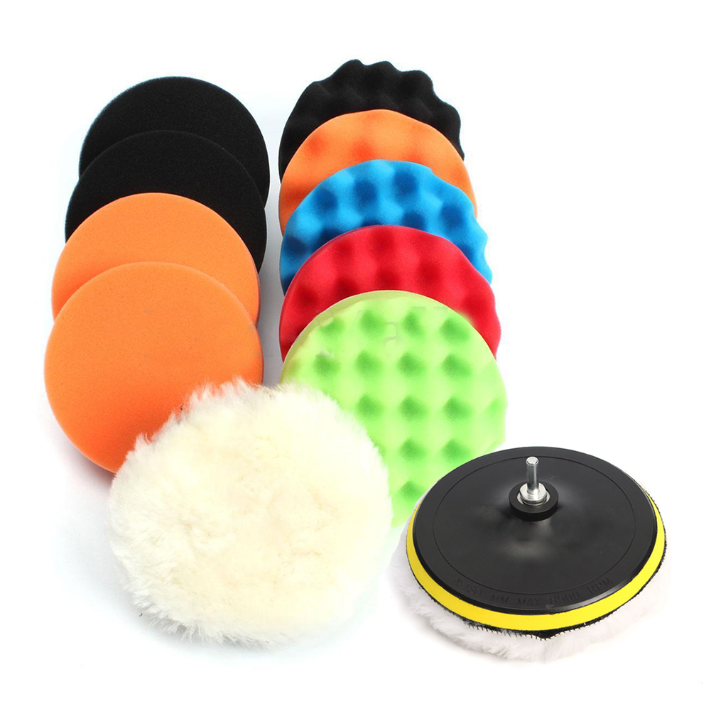 "11Pcs 3"" Waffle Buffer Polishing Pad Set For Car Polisher"
