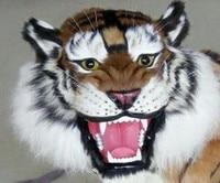 Творческий моделирование головы тигра пластиковые модели и мех Тигр кукла подарок 30x25 см A173